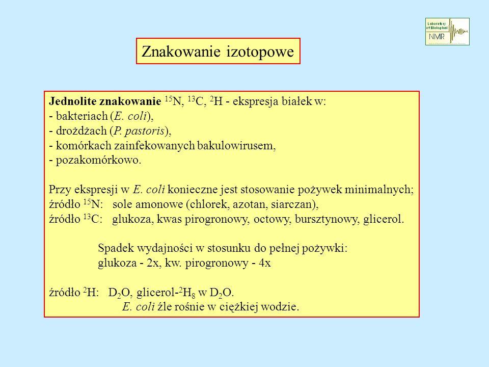 Znakowanie izotopowe Jednolite znakowanie 15N, 13C, 2H - ekspresja białek w: - bakteriach (E. coli),