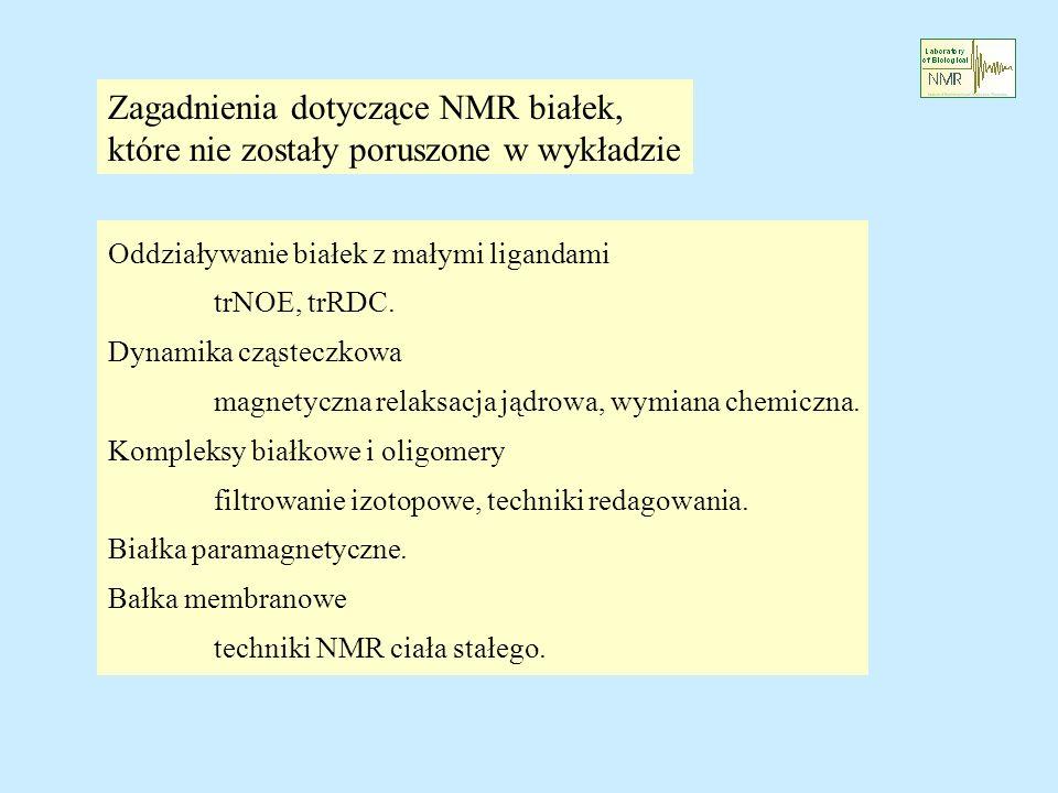 Zagadnienia dotyczące NMR białek,