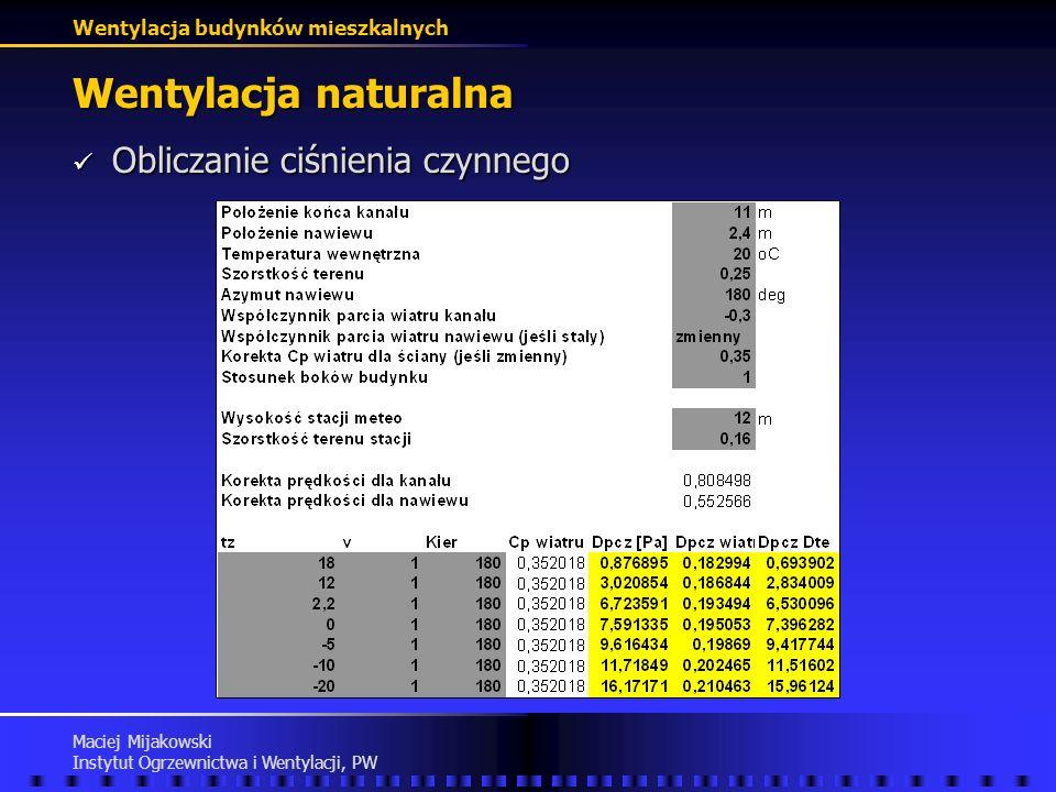 Wentylacja naturalna Obliczanie ciśnienia czynnego Maciej Mijakowski