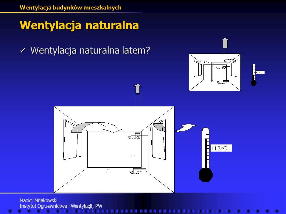 Wentylacja naturalna Wentylacja naturalna latem Maciej Mijakowski