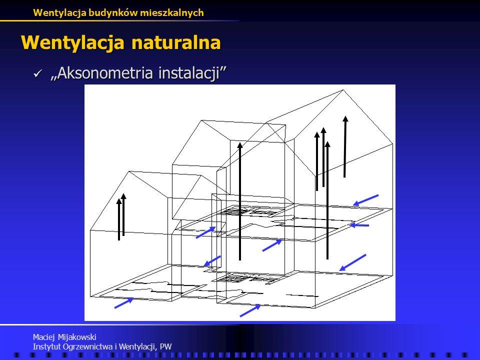 """Wentylacja naturalna """"Aksonometria instalacji Maciej Mijakowski"""