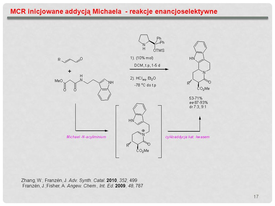 MCR inicjowane addycją Michaela - reakcje enancjoselektywne