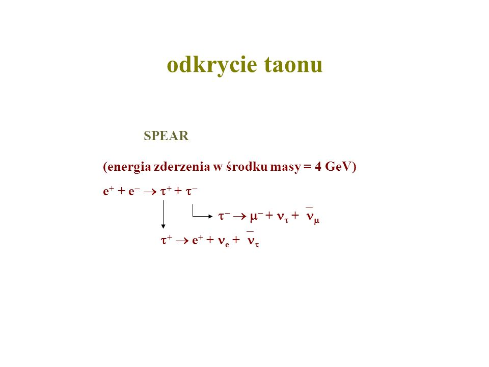 odkrycie taonu SPEAR (energia zderzenia w środku masy = 4 GeV)