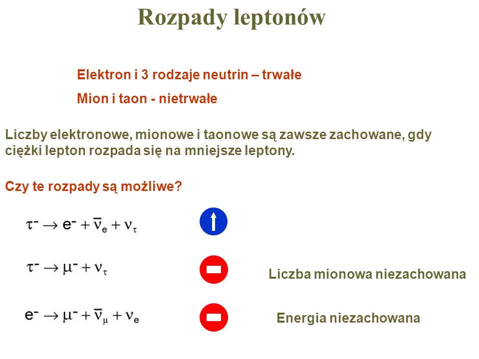 Rozpady leptonów Elektron i 3 rodzaje neutrin – trwałe