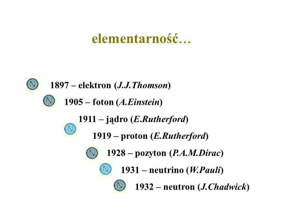 elementarność... 1897 – elektron (J.J.Thomson)