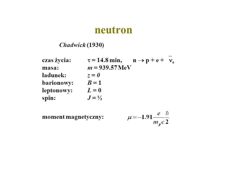 neutron Chadwick (1930)