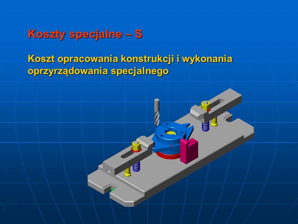 Koszty specjalne – S Koszt opracowania konstrukcji i wykonania oprzyrządowania specjalnego