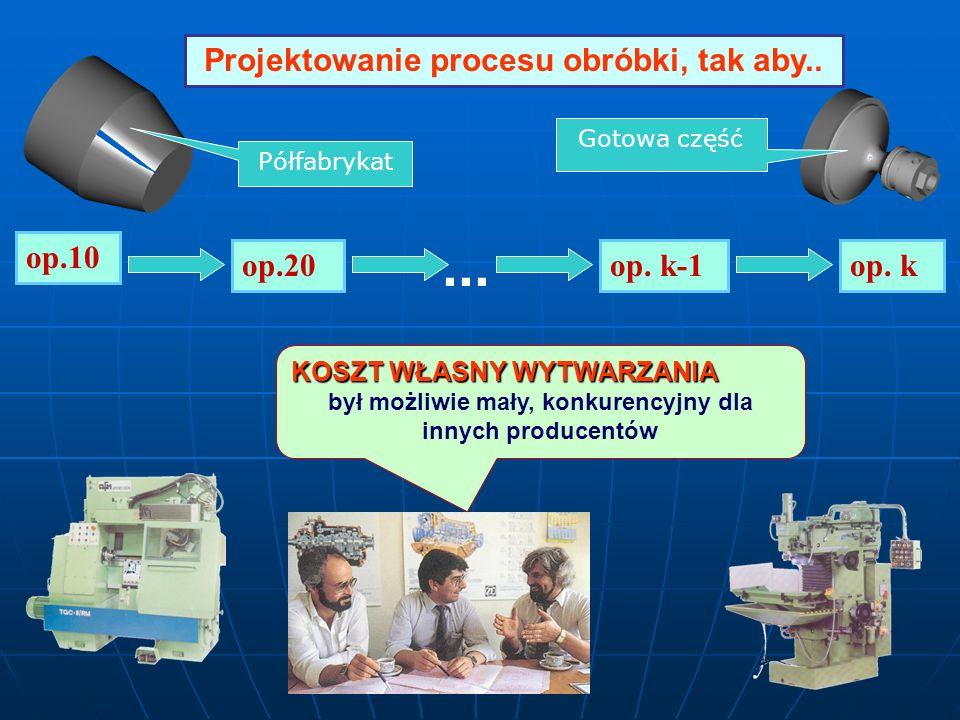 ... Projektowanie procesu obróbki, tak aby.. op.10 op.20 op. k-1 op. k