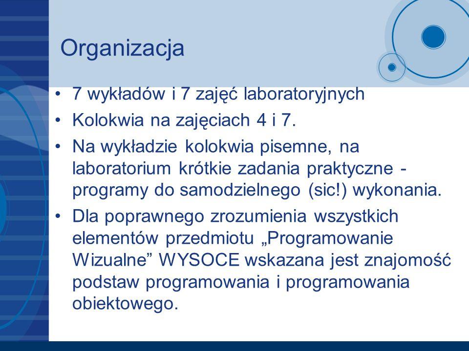 Organizacja 7 wykładów i 7 zajęć laboratoryjnych