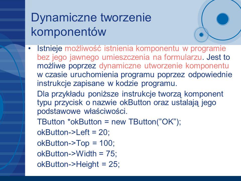 Dynamiczne tworzenie komponentów