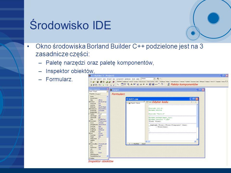 Środowisko IDE Okno środowiska Borland Builder C++ podzielone jest na 3 zasadnicze części: Paletę narzędzi oraz paletę komponentów,