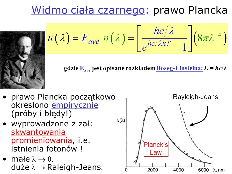 Widmo ciała czarnego: prawo Plancka