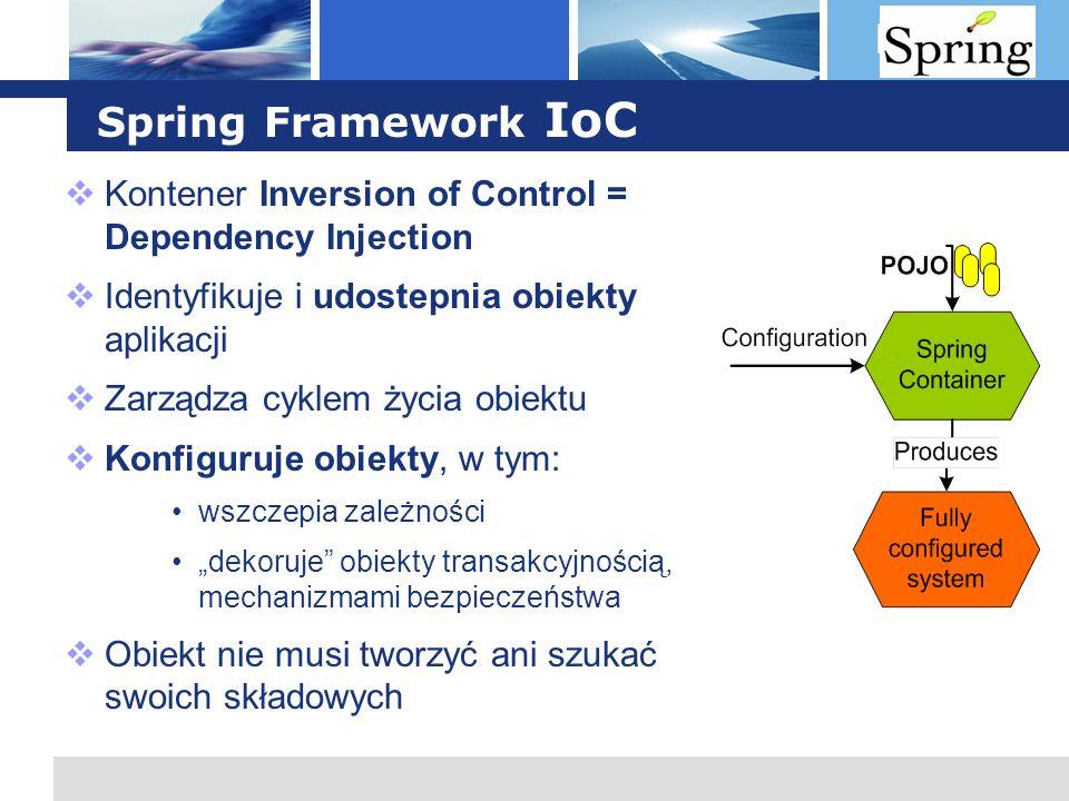 Spring Framework IoC Kontener Inversion of Control = Dependency Injection. Identyfikuje i udostepnia obiekty aplikacji.