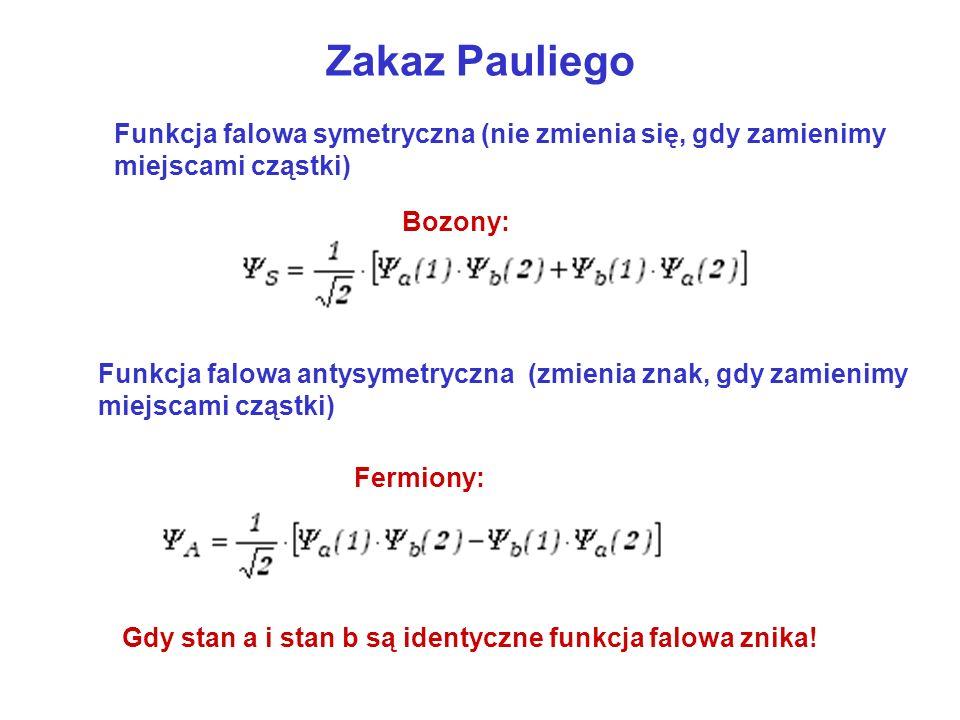 Zakaz Pauliego Funkcja falowa symetryczna (nie zmienia się, gdy zamienimy miejscami cząstki) Bozony: