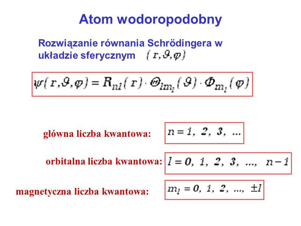 Atom wodoropodobny Rozwiązanie równania Schrödingera w układzie sferycznym. główna liczba kwantowa: