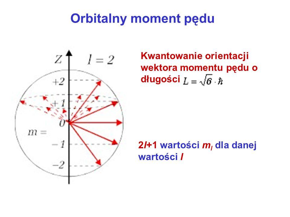 Orbitalny moment pędu Kwantowanie orientacji wektora momentu pędu o długości.