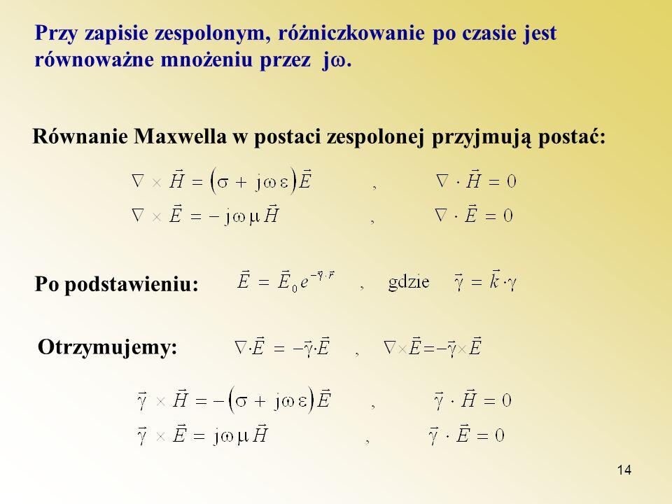 Przy zapisie zespolonym, różniczkowanie po czasie jest równoważne mnożeniu przez j.