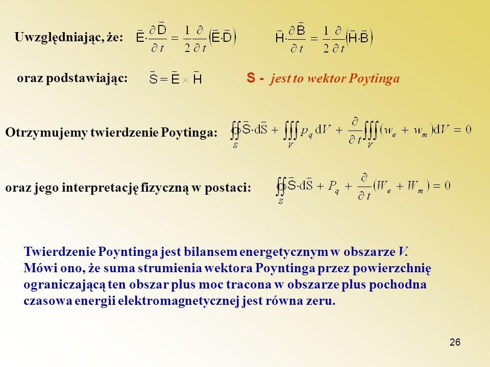 Uwzględniając, że: oraz podstawiając: S - jest to wektor Poytinga. Otrzymujemy twierdzenie Poytinga: