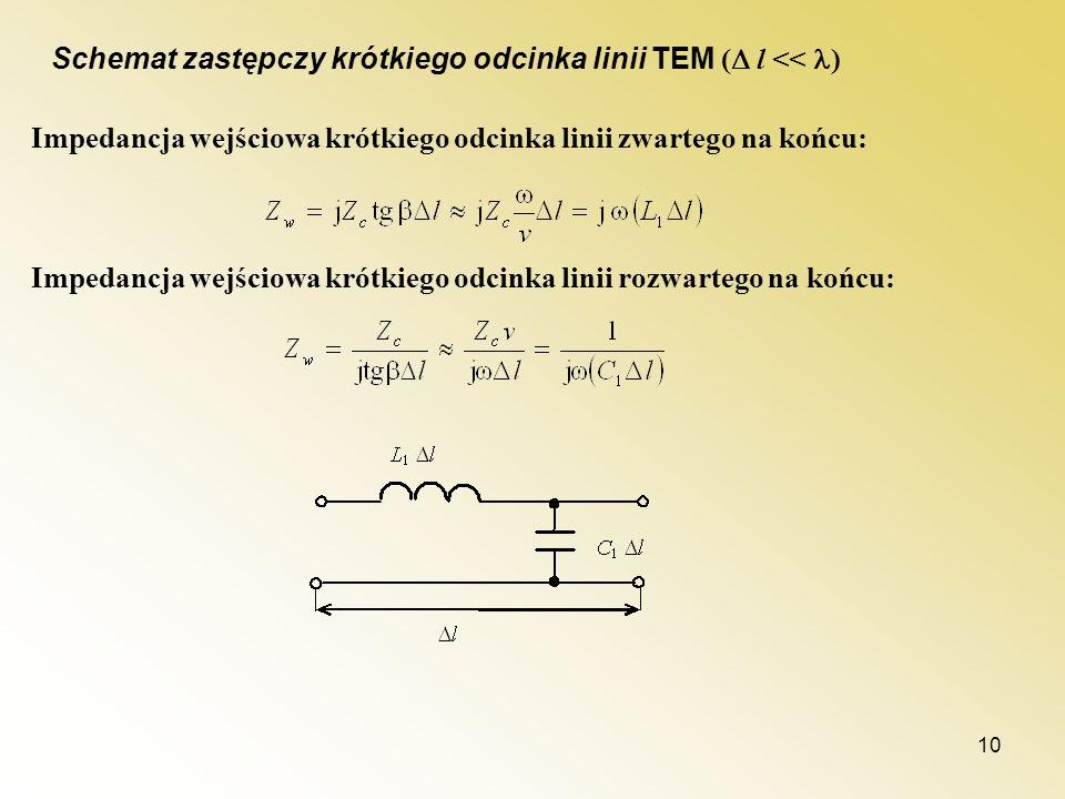 Schemat zastępczy krótkiego odcinka linii TEM ( l << )