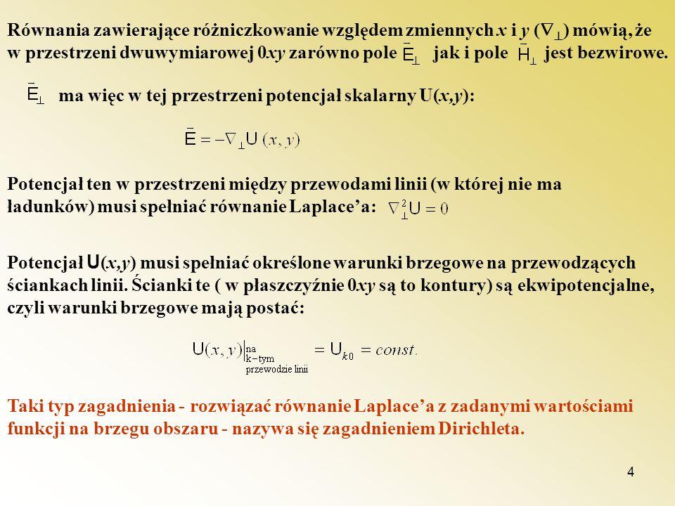 Równania zawierające różniczkowanie względem zmiennych x i y () mówią, że w przestrzeni dwuwymiarowej 0xy zarówno pole jak i pole jest bezwirowe.