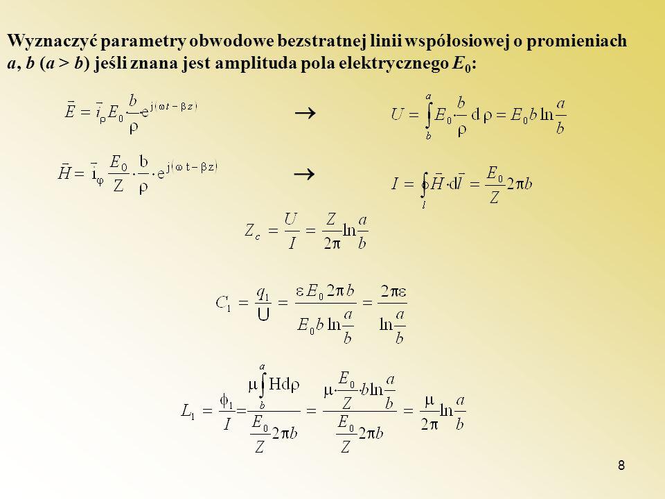Wyznaczyć parametry obwodowe bezstratnej linii współosiowej o promieniach a, b (a > b) jeśli znana jest amplituda pola elektrycznego E0: