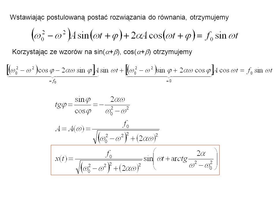 Wstawiając postulowaną postać rozwiązania do równania, otrzymujemy