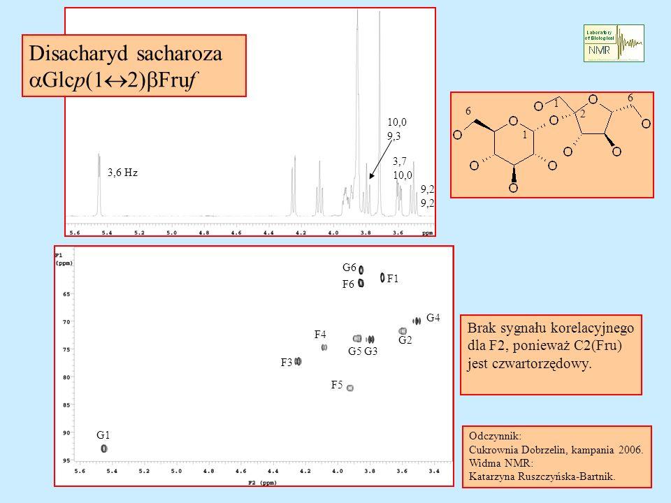 Disacharyd sacharoza aGlcp(12)bFruf Brak sygnału korelacyjnego