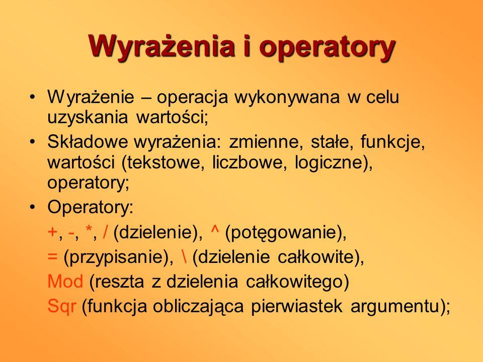 Wyrażenia i operatory Wyrażenie – operacja wykonywana w celu uzyskania wartości;