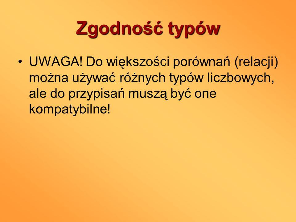 Zgodność typów UWAGA.