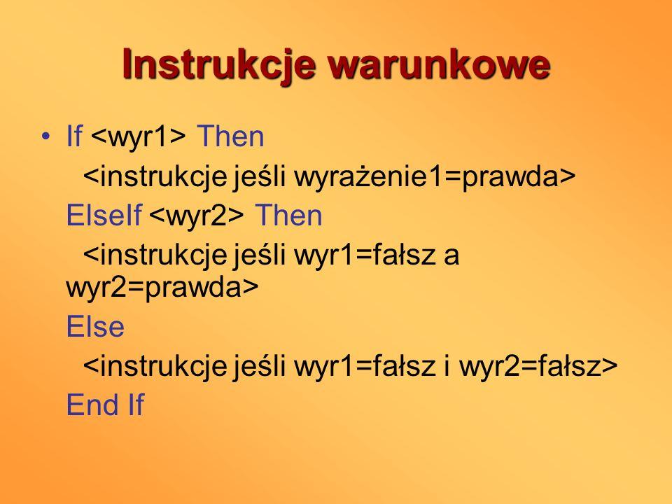 Instrukcje warunkowe If <wyr1> Then