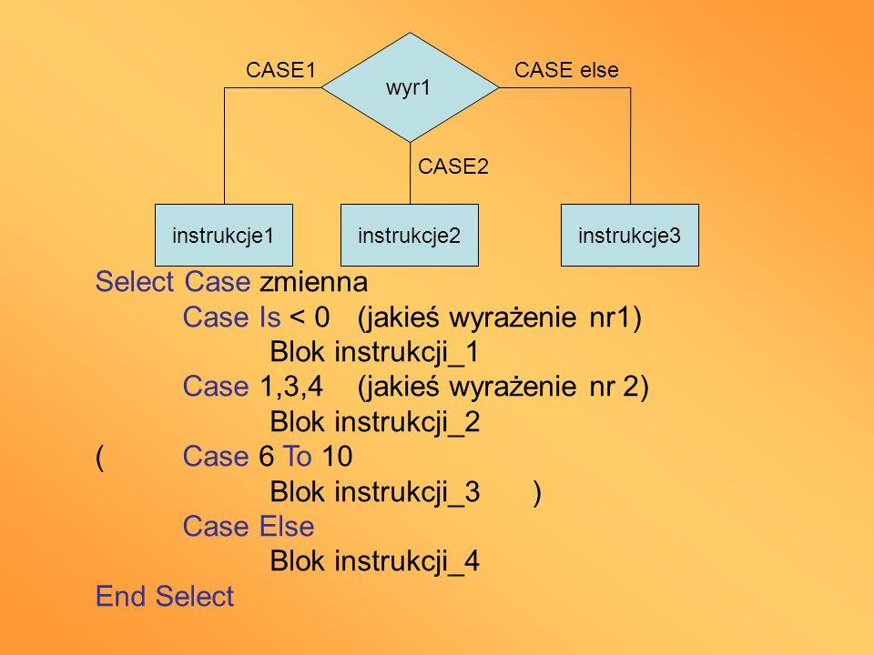Case Is < 0 (jakieś wyrażenie nr1) Blok instrukcji_1