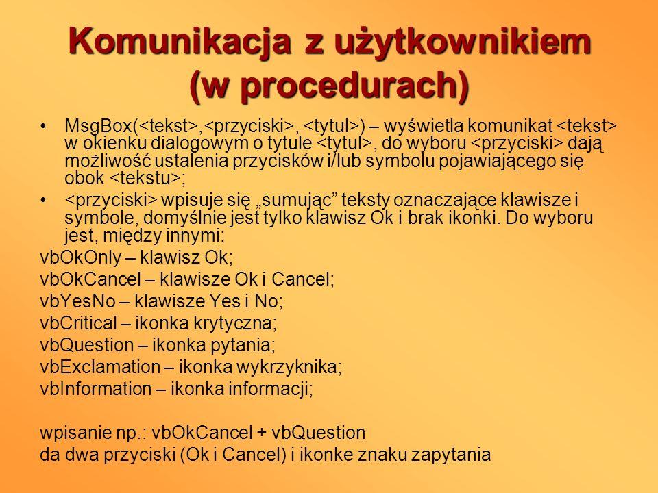 Komunikacja z użytkownikiem (w procedurach)