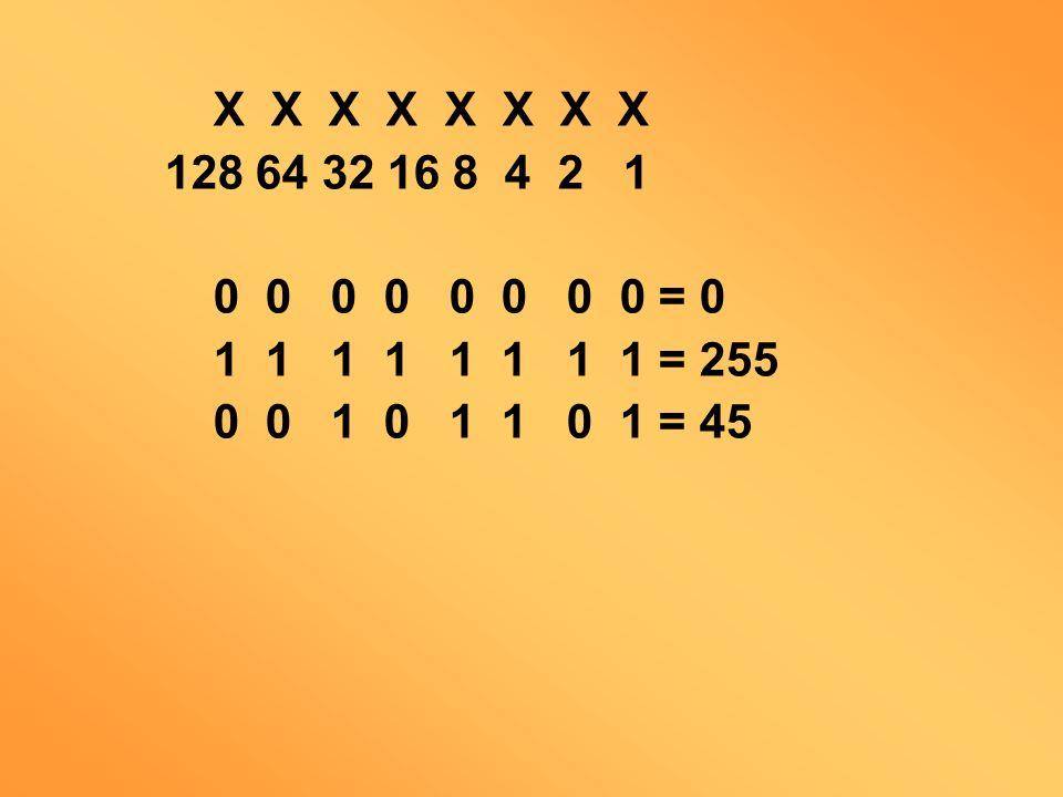 X X X X X X X X 128 64 32 16 8 4 2 1. 0 0 0 0 0 0 0 0 = 0. 1 1 1 1 1 1 1 1 = 255.