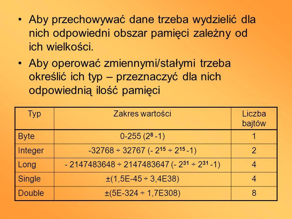 Aby przechowywać dane trzeba wydzielić dla nich odpowiedni obszar pamięci zależny od ich wielkości.