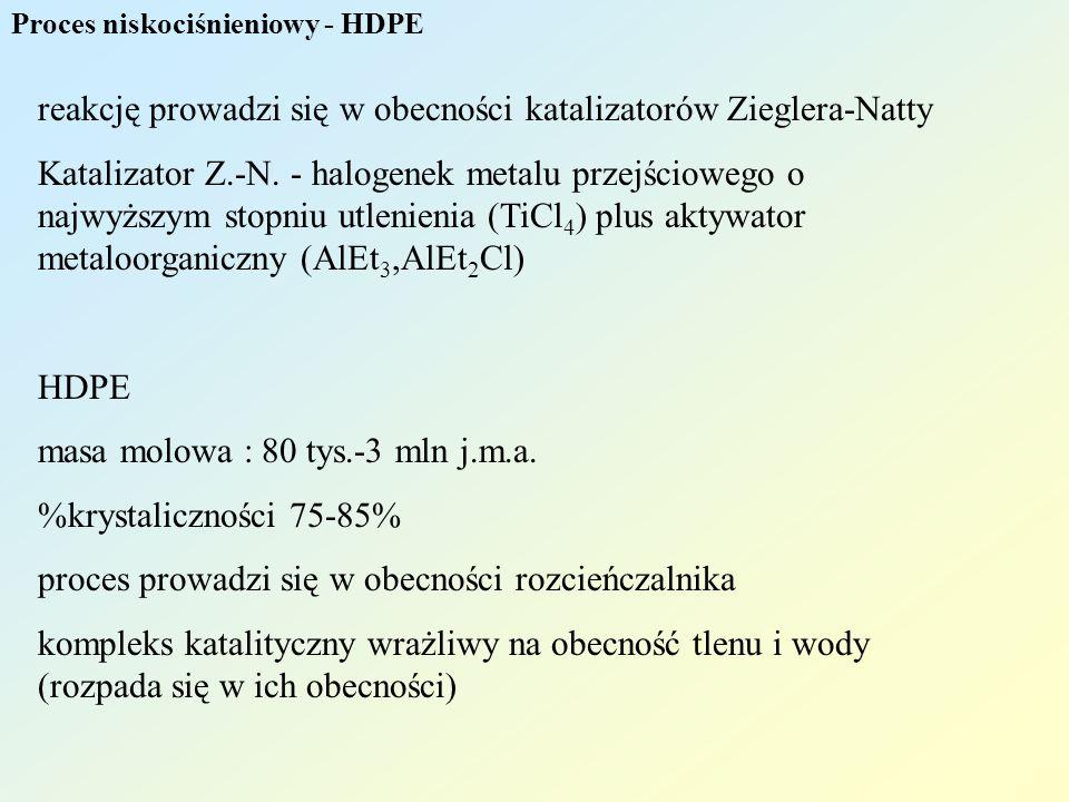 reakcję prowadzi się w obecności katalizatorów Zieglera-Natty