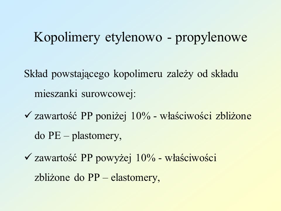 Kopolimery etylenowo - propylenowe