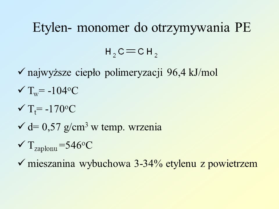 Etylen- monomer do otrzymywania PE