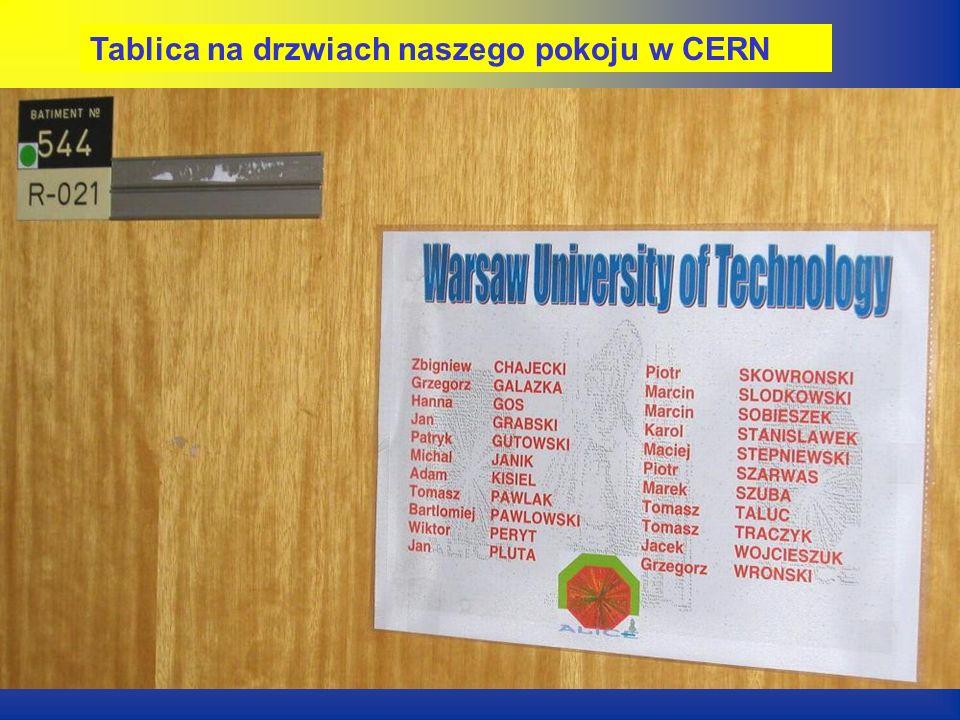 Tablica na drzwiach naszego pokoju w CERN