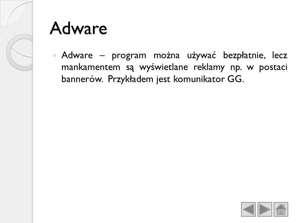 Adware Adware – program można używać bezpłatnie, lecz mankamentem są wyświetlane reklamy np.
