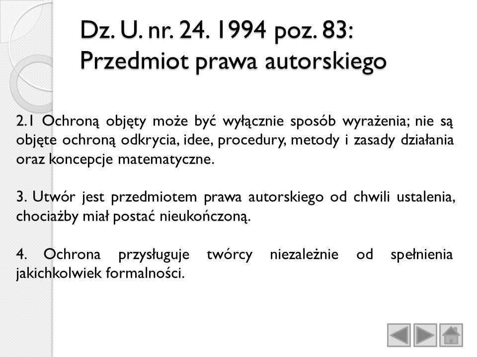 Dz. U. nr. 24. 1994 poz. 83: Przedmiot prawa autorskiego