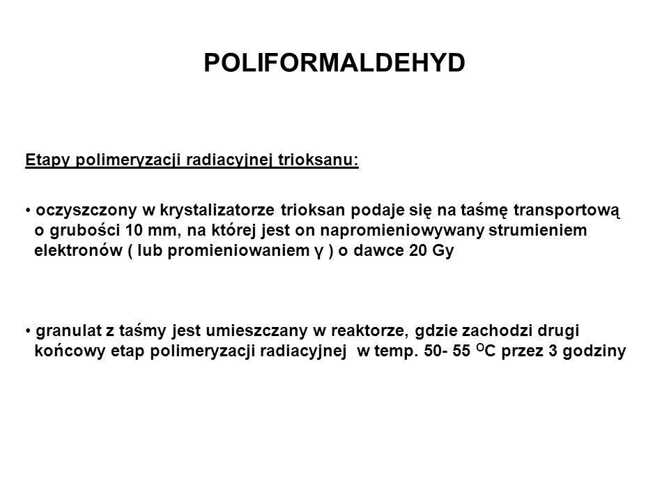 POLIFORMALDEHYD Etapy polimeryzacji radiacyjnej trioksanu: