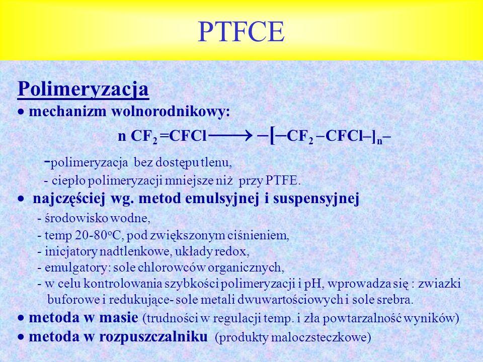 PTFCE Polimeryzacja -polimeryzacja bez dostępu tlenu,