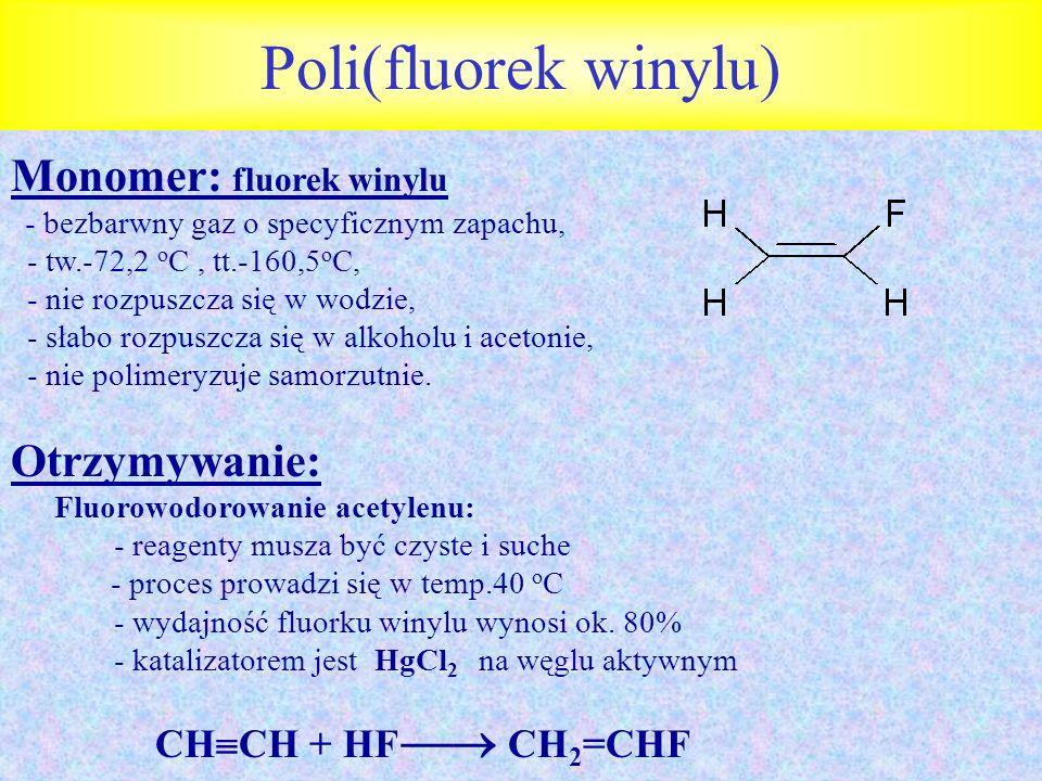 Poli(fluorek winylu) Monomer: fluorek winylu Otrzymywanie: