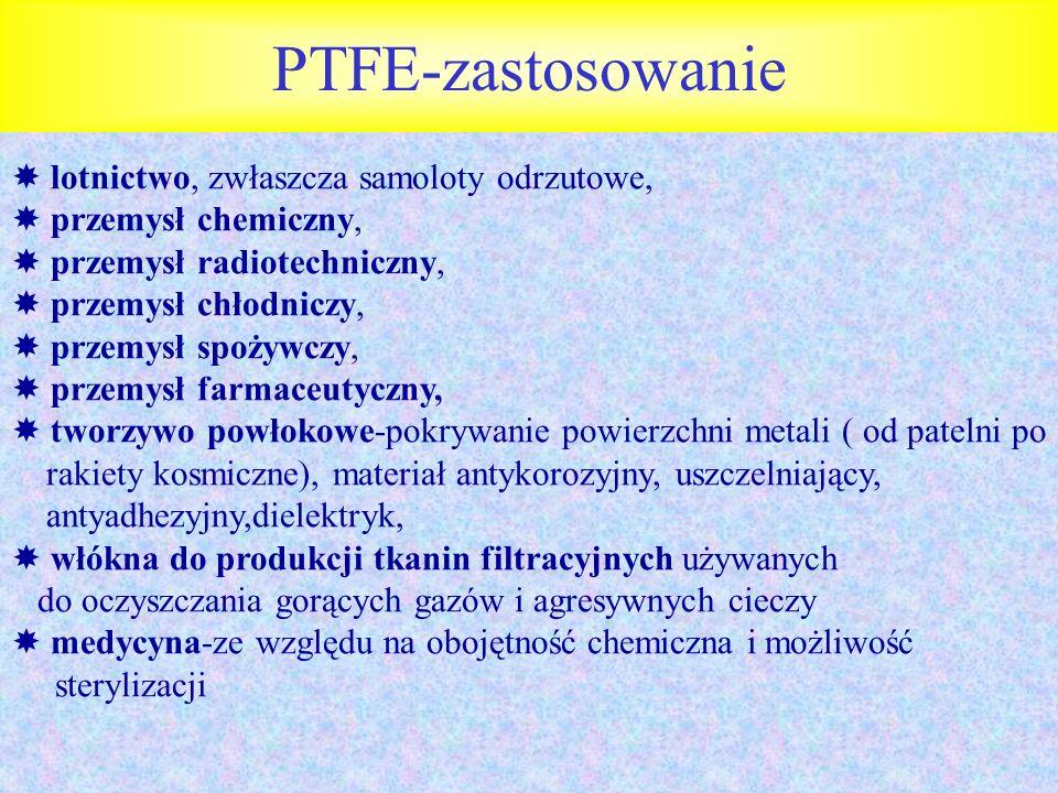 PTFE-zastosowanie  lotnictwo, zwłaszcza samoloty odrzutowe,