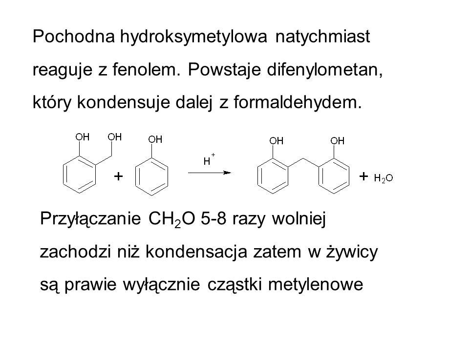 Pochodna hydroksymetylowa natychmiast reaguje z fenolem
