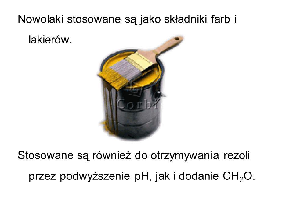 Nowolaki stosowane są jako składniki farb i lakierów.