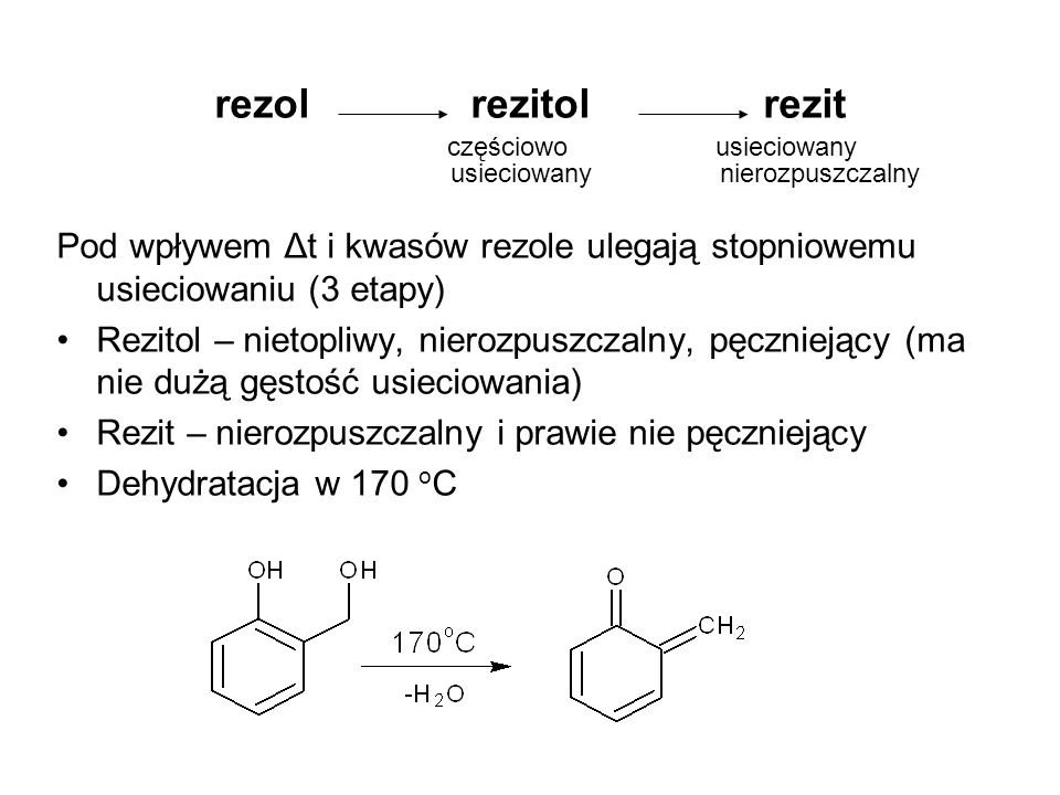rezol rezitol rezit częściowo usieciowany. usieciowany nierozpuszczalny.