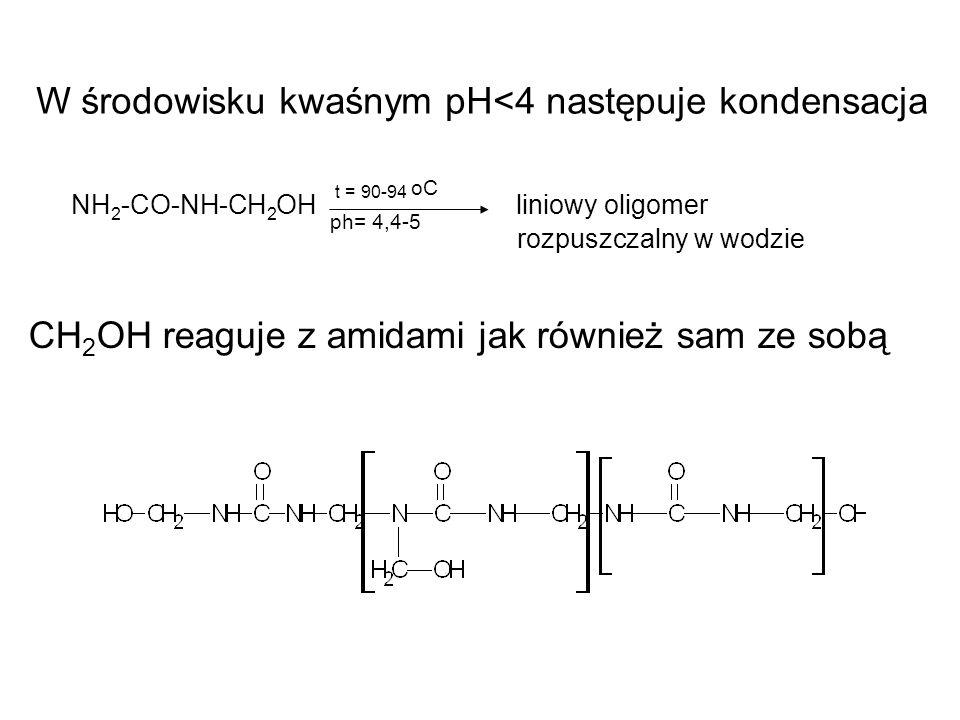 W środowisku kwaśnym pH<4 następuje kondensacja