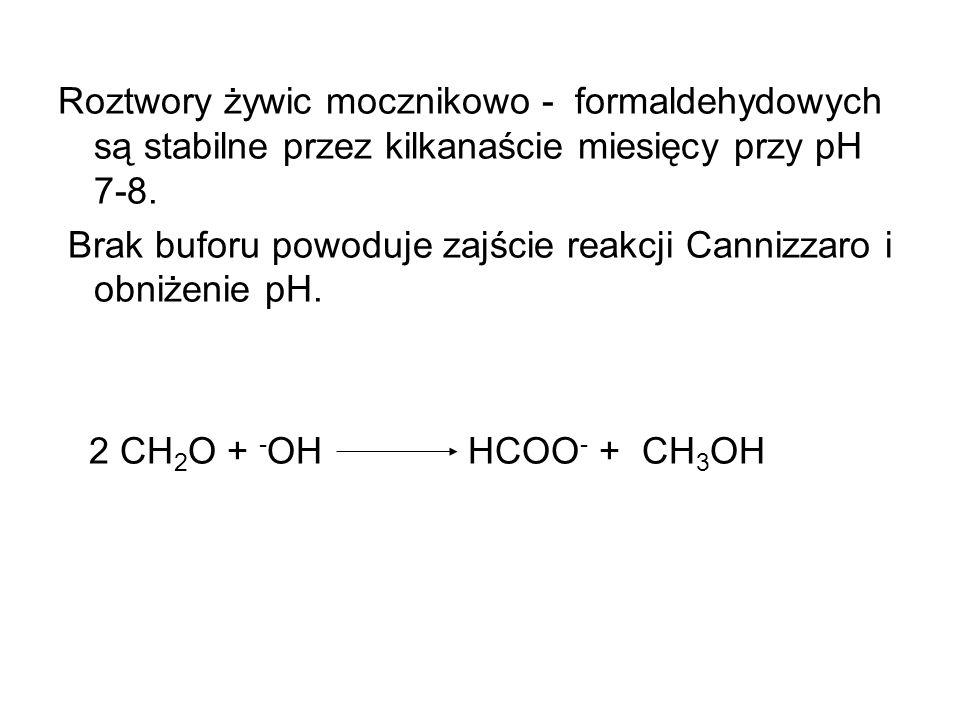 Roztwory żywic mocznikowo - formaldehydowych są stabilne przez kilkanaście miesięcy przy pH 7-8.