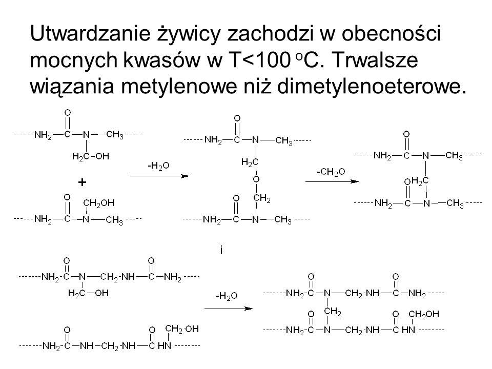 Utwardzanie żywicy zachodzi w obecności mocnych kwasów w T<100 oC